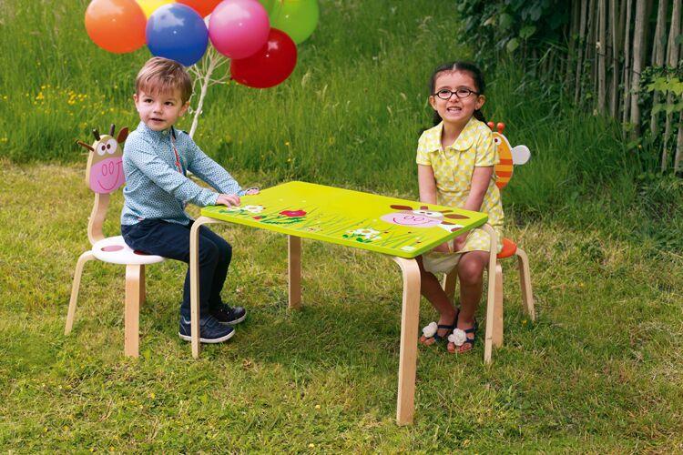 Dřevěný dětský stůl Kravička, Scratch