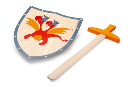 Dřevěný meč a štít Červený drak, Scratch