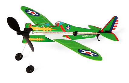 Vrtulové stíhací letadlo na gumu, Scratch
