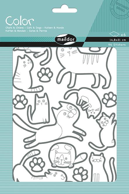 Sada samolepek k vybarvení Kočky a psi, Maildor