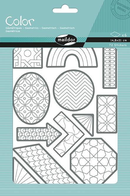 Sada samolepek k vybarvení Geometrické tvary, Maildor