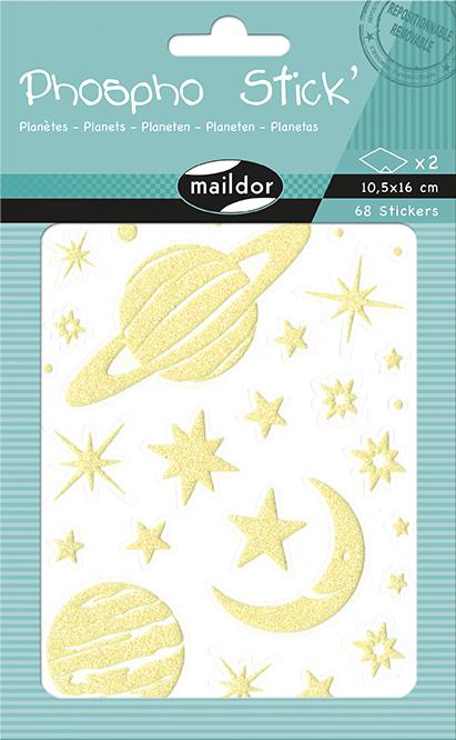 Sada svítících samolepek Planety, Maildor