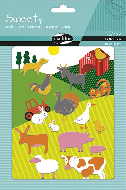 Sada filcových samolepek Zvířátka na farmě, Maildor