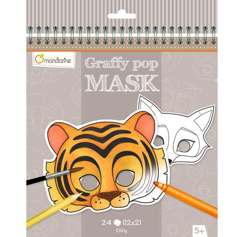 Karnevalové masky k vymalování Zvířátka, Avenue Mandarine